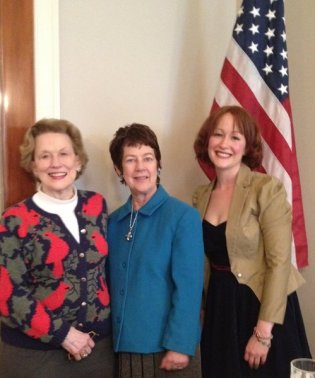 DAR Members Betty Woodruff, Hervie Folsom (event organizer) and myself (Eryn Oft).