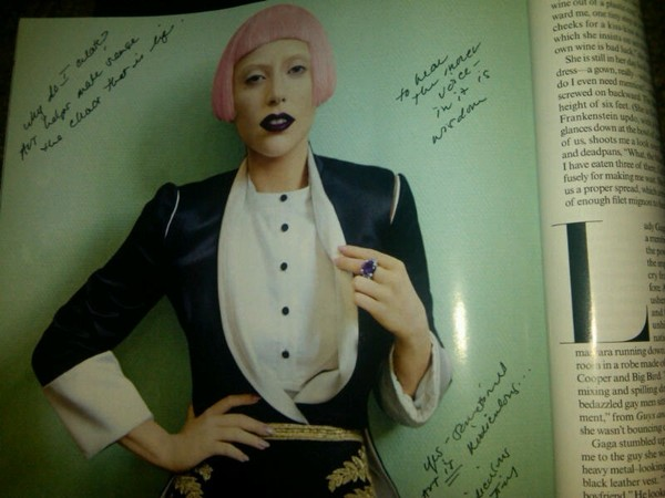 Picture of Lady Gaga from Vogue 2011 with my Inner Thoughts Sprinkling Around the Edges.