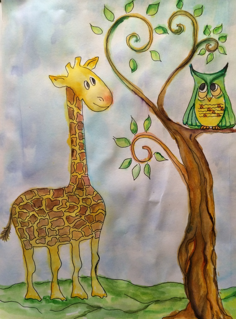 sn't this AMAZING ART! My Mom, Kay Oft, Made it for Me When I told her all the GIRAFFE and OWL Prints Online were Copyrighted! Perfect for the