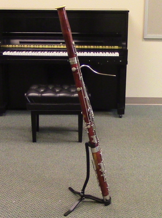 My Bassoon being held up by a Reeds 'N Stuff Stand.